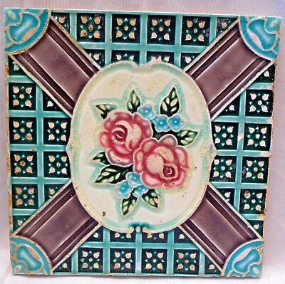 Vintage Tile Art Nouveau Majolica Rose Flower Design Japan Made Collectibles #1