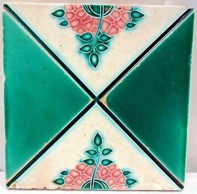Vintage Tiles Art Nouveau Majolica Japan Architecture Collectible Porcelain # 1
