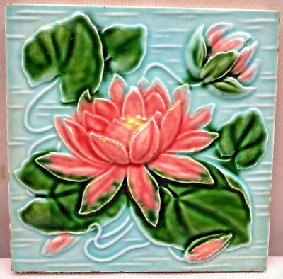 Tile Art Nouveau Majolica Lotus Flower Design Vintage Architecture Collectibles