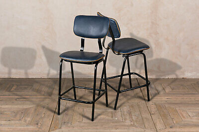 Pair Of Oxford Blue Backed Bar Stool Upholstered In Cross Stitch Faux Leather