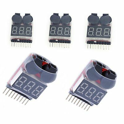 New 5x Lipo Battery Low Voltage Alarm 1S-8S Buzzer Indicator Checker Tester LED