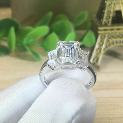 Certified 5.92Ct Emerald White Diamond Halo Engagement Ring in 14k White Gold