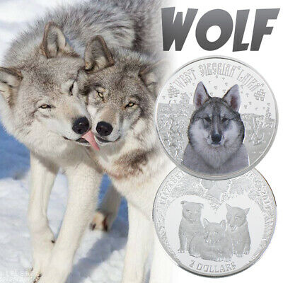 WR Silver Coins Wild Snow Wolf Pattern Commemorative Coins For Collection Gift