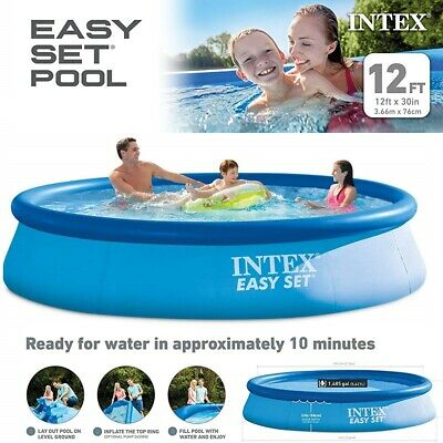 e25c8e777de16 Intex 12ft X 30in Easy Set Garden Swimming Pool Inflatable Set with Filter  Pump
