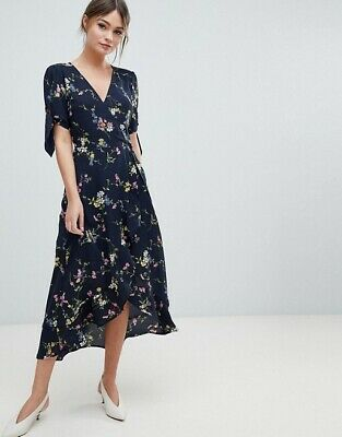 9cb3b4e1a293 Oasis Beautiful Floral Navy Blue Wrap Dress Size 10 Perfect For A Wedding
