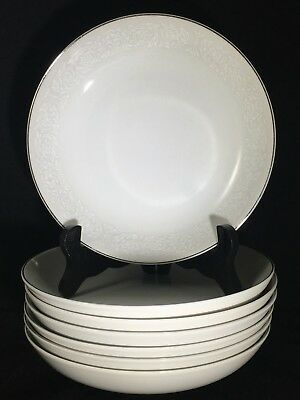 "7 Carlton Japan Plymouth 303 White Floral & Silver Trim 7 5/8"" Coupe Soup Bowls"