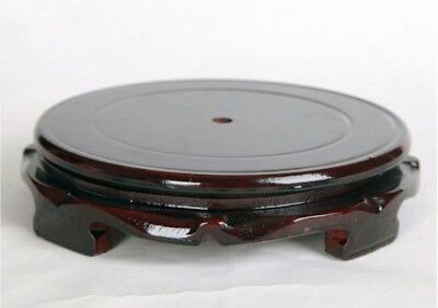 CHINESE HARD Black WOOD NICE CARVED BONSAI POT/VASE Round rotatable STAND 10cm