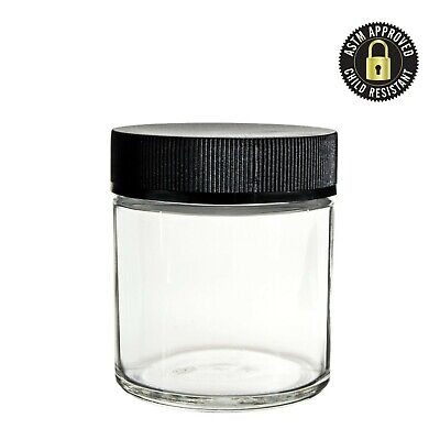 90ml 60ml Child Resistant Lid Clear Glass Jars with Lid Detail
