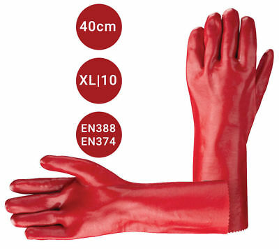 """12 Pairs Red PVC Rubber Work Gloves 16"""" Long Arm Cuff Chemical Safety Gauntlet"""