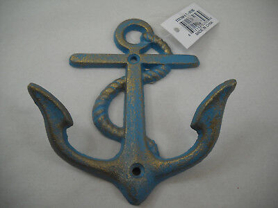 Nautical Anchor With Rope Cast Iron Aqua And Gold Wall Towel Bath Pool Key Hook