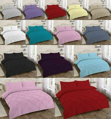 Pinch Pleat Pintuck Alexander Quilt Cover Pillow Case Poly Cotton Bedding Set