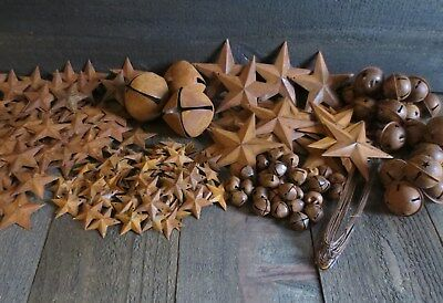 Huge Lot Rusty Metal Barn Stars & Jingle Bells & Wire Primtive Country Crafting