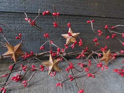 """Lot of 2 Primitive Country Red Pip Berry Garland 5.5 feet/66"""" ea w/ Rusty Stars"""