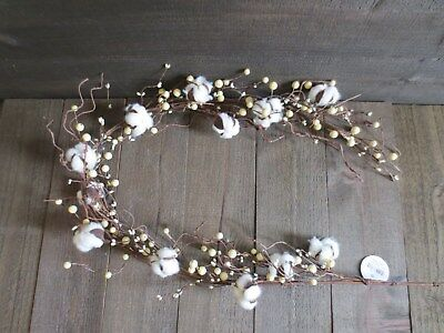 "Lot of 2 Cotton Boll Cream Berry Garland 55"" Farmhouse Decor Ball Berries Wreath"