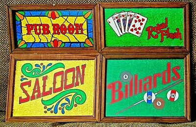 (4) Vtg Bar Sign Pub Room Saloon Wood Glass Foil Barware Sign Stain Glass Look