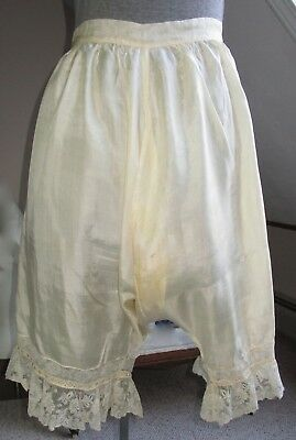 Antique Victorian Silk Pantaloons, Bloomers, French Val Lace Split Crotch