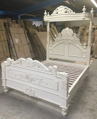 "4'6"" Double Four Poster Bed Victorian Half tester In White Solid Wood + Canopy"
