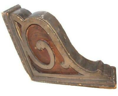 Antique Wood Corbel With Applied Scrollwork Decoration