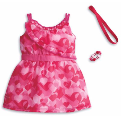 American Girl Truly Me Hearts Ruffle Dress Complete Outfit  Valentines Day NEW