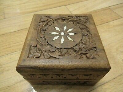 "Vintage Decorative Wooden Carved INLAY Trinket Jewelry BOX Hinged Lid 4""x4""x2.5"""
