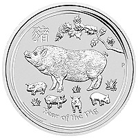 Lot of 5 x 5 oz 2019 Perth Mint Lunar Year of the Pig Silver Coin