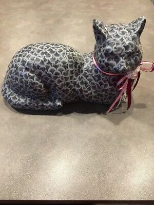 Vintage Decoupage Paper Mache Laying Down Cat Black Gray Ribbons Statue 12 x 8