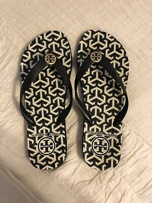 42b6a40a55c6 TORY BURCH BLACK GREY WHITE Flip Flops Thick Rubber Sole Gold Logos ...