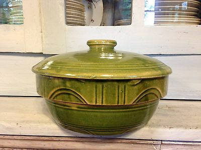 Vintage Green Oven Ware No. 8  Crock Bowl With Lid