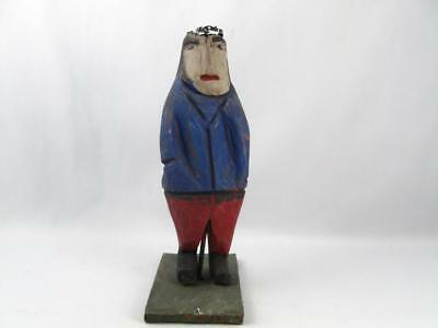 Quebec Primitive Folk Art Wood Carving Man Figurine Signed Emile Bluteau