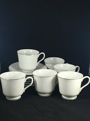 Carlton Japan Plymouth 303 White Floral 6 Tea Cups & 6 Saucers w/ Silver Trim