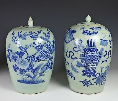 Pair of Old Chinese Blue and White on Celadon Porcelain Covered Jars