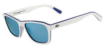 b4cf82d015d Lacoste Men s White Soft Square Sunglasses w  Blue Mirror Lens - L827S 105