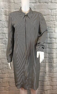 Vintage DAVID HAYES Women's Black Striped Zipped 100% Silk L/S Sheath Dress Sz 8