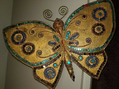 VINTAGE Hand-Carved Southeast ASIAN Wood THAILAND Butterfly Wall Art Decor