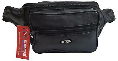 Swiss Marshall Genuine Leather Fanny Pack Waist Bag Classic Style Travel Organiz