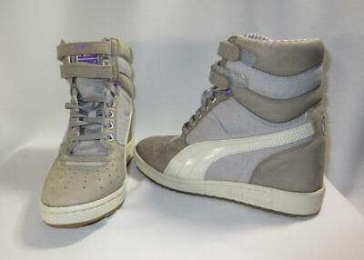3f919982c479 Puma Gray 8.5 Sky Wedge Canvas Patent Leather Contact High-top Sneaker