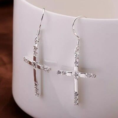 925 Sterling Silver Dangle Cross Hoop Pierced Earrings E03