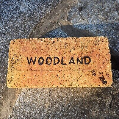 Antique Reclaimed Fire Brick Stamped Woodland Debossed Early 1900s