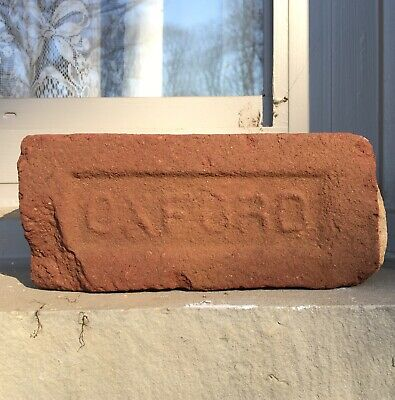 Antique Reclaimed Red Clay Brick Stamped Oxford Early 1900s River Tumbled