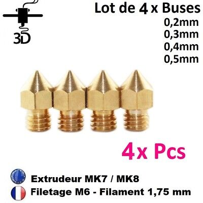 Lot 4 Buses 0.2/0.3/0.4/0.5mm Nozzle M6, 1.75mm J-head MK8 Imprimante 3D Printer