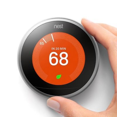 Certified:  Nest 3rd Gen Learning Thermostat - Stainless Steel w/Base T3007ES
