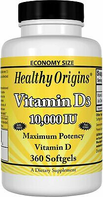 Vitamin D3, Healthy Origins, 360 softgels 10000 IU