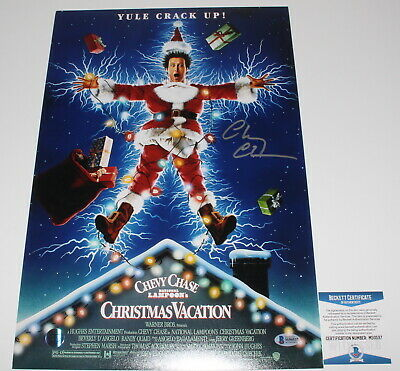 Chevy Chase Signed Authentic 'Christmas Vacation' 12X18 Movie Poster Photo Bas