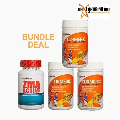 TURMERIC TABLETS 3 x 150 TABLETS ANTI INFLAMMATORY Plus 1 x ZMA Active 60 Caps