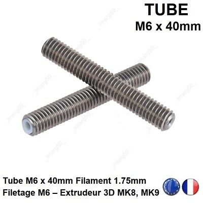 Tube M6x 40mm Filament 1.75mm Gaine PTFE Extrudeur MK8 MK9 Imprimante 3D Printer