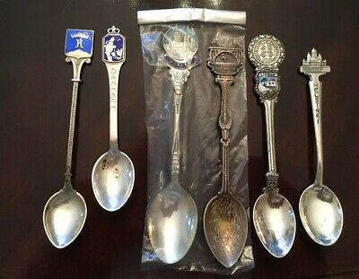 Clean Vintage Lot 6 sterling Silver European souvenir spoons (Some Enameled))