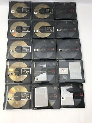 Lot of 14 Mini Discs Sony TDK for MiniDisc player 74 minutes Free Disk QLT1 F19