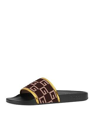 54e688c499f  370 NWT Gucci Gg Print Pursuit Slide in Brown for Men 8 UK  9 US