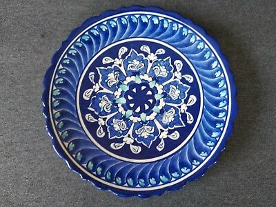 "Vintage Dunya Cini KUTAHYA 7"" Wall Art Plate Pottery Turkish Handmade Ceramic"