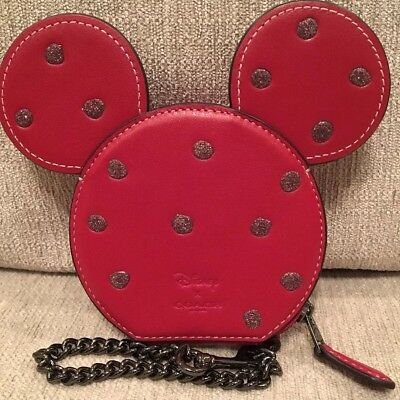 sports shoes 28f60 3336c COACH DISNEY LEATHER Boxed MINNIE MOUSE Small Travel Wristlet Purse ...